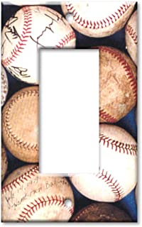 Art Plates - Single Gang Rocker OVERSIZE Switch Plate/OVER SIZE Wall Plate - Sports: Old Baseballs