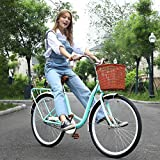 ComCune 26-Inch Womens Beach Cruiser Bike with Basket - Women Comfort Bikes Classic Retro Bicycle Beach Cruiser Bike Single Speed Bicycle Comfortable Commuter Bicycle (Green)