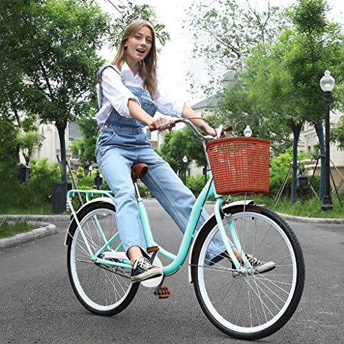 Tengma 26 Inch Women's Classic Beach Cruiser Bicycle Mountain Bike Frame Lady with Basket Retro Bicycle Beach Cruiser Bicycle Retro Bike,Seaside Travel Bicycle,Anti-Skid Wear-Resistant Tires