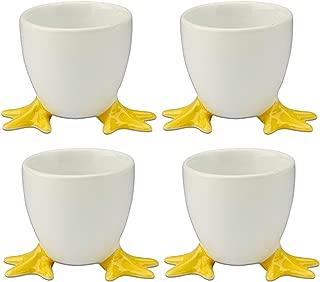 Cordon Bleu White Porcelain Egg Cups with Yellow Chicken Feet - Set of 4