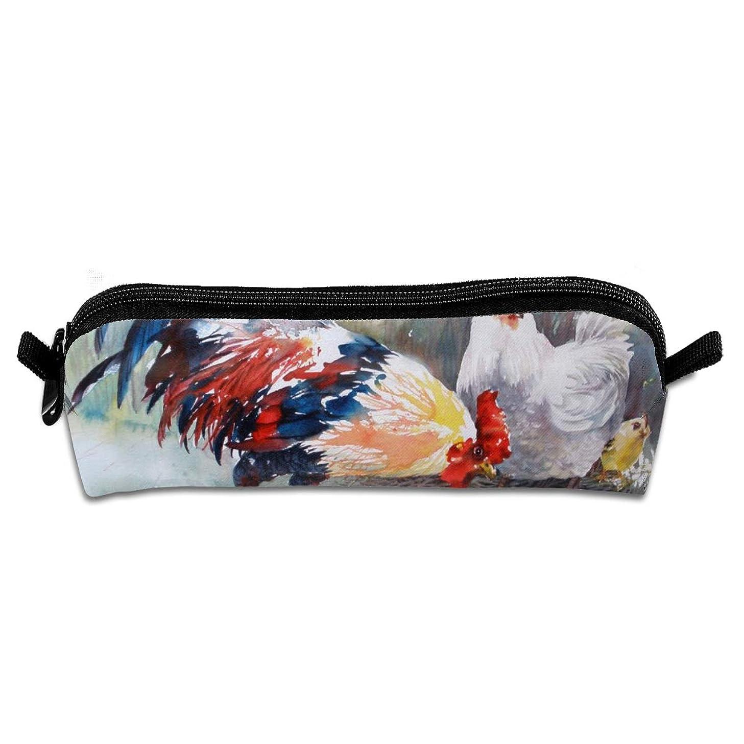 歴史的さびた時系列Cock Hen And Chicks Watercolor Art Chicken Family 文房具袋筆箱化粧品袋筆箱色鉛筆文具小学生高校生小容量便利なシンプルな男の子と女の子