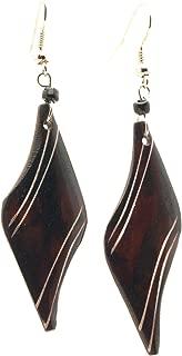Beautiful African Fair Trade Brown Diamond Shaped Up cycled Camel Batiked Bone Earrings