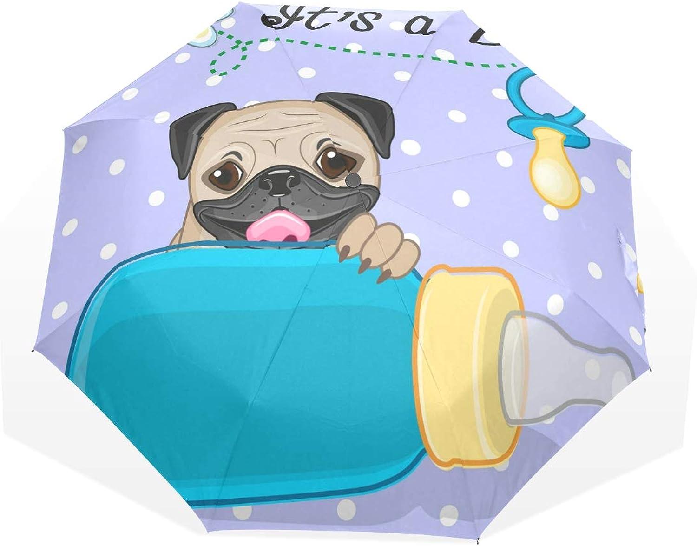 Anmarco Pug Dog Boy Travel Umbrella Compact Folding Sun & Rain Predection Windproof Portable Umbrella for Kids Women Men