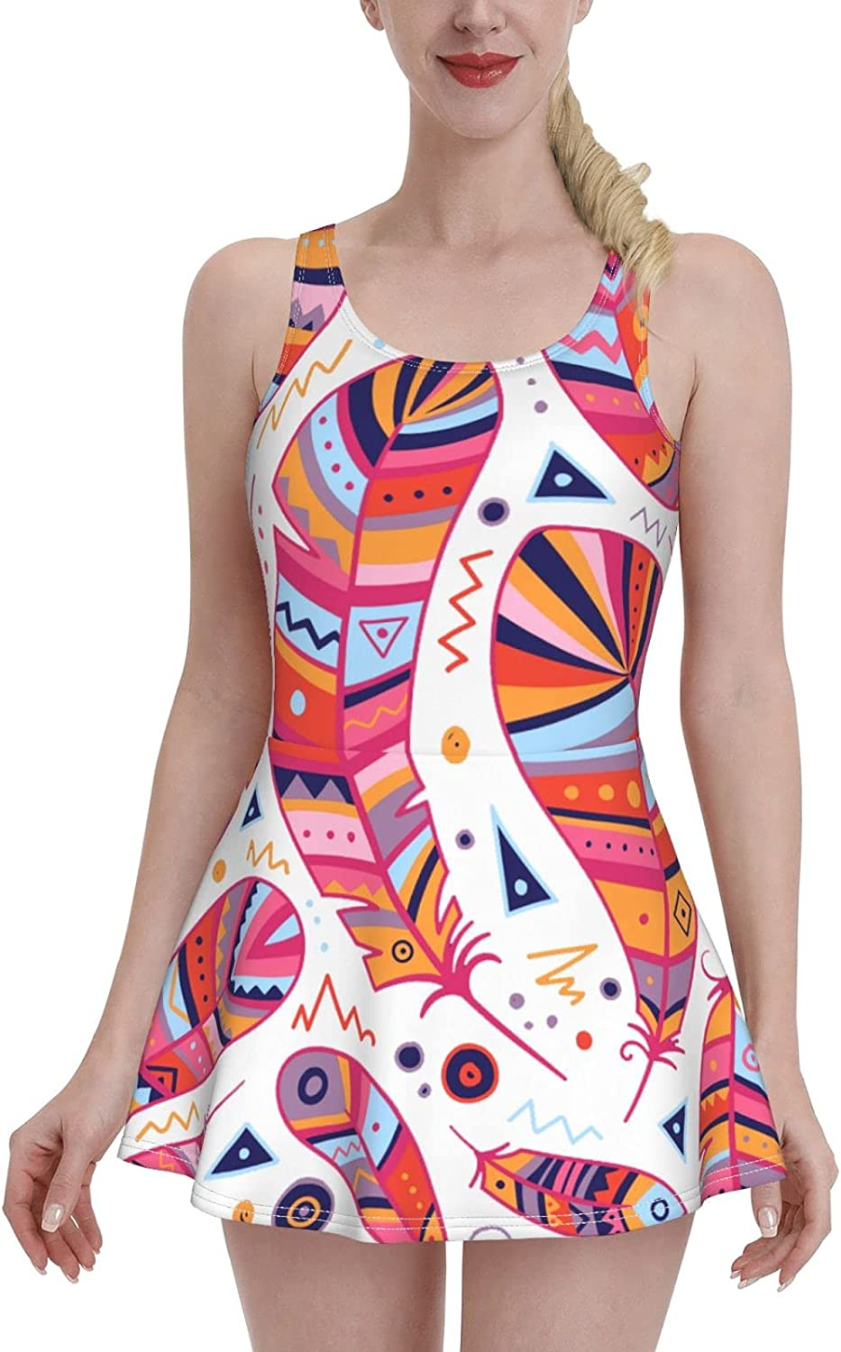 Bright Feathers Ladies Ruffled New life Large-scale sale Adjustabl with Swimsuit One-Piece
