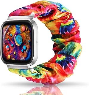 UooMoo Tie dye Scrunchie Elastic Band Compatible for Fitbit Versa/Fitbit Versa 2/Fitbit Versa Lite,Tie-dye Elastic Hair Wr...