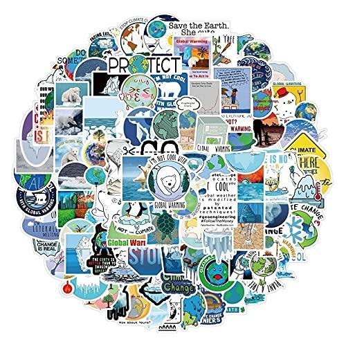 100Pcs Global Climate Change Protect Environment Sticker Aesthetics Skateboard Laptop Phone Graffiti Sticker Decal Kid Toy