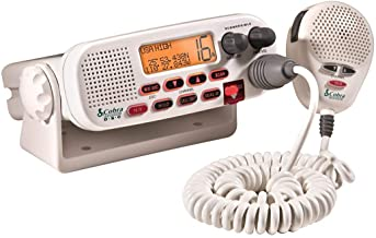 Cobra MR F45-D Fixed Mount VHF Marine Radio – 25 Watt VHF, Submersible, LCD Display, Noise Cancelling Microphone, NOAA Wea...