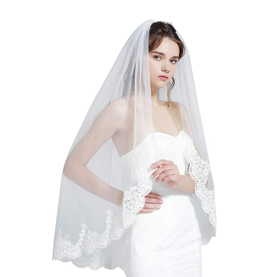 Wedding Bridal Veil with Comb 1 Tier Lace Applique Edge Ivory Fingertip Length