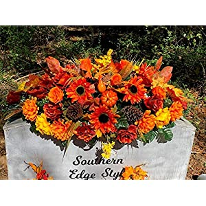 Large Autumn Headstone Saddle Flowers, Cemetery Flowers, Thanksgiving Grave Blanket