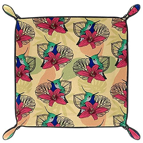 Bandeja de cuero para mesita de noche, organizador de joyas para hombres, monedero, caja de viaje de poliuretano, bandeja de valet de flores tropicales Colibri rosas