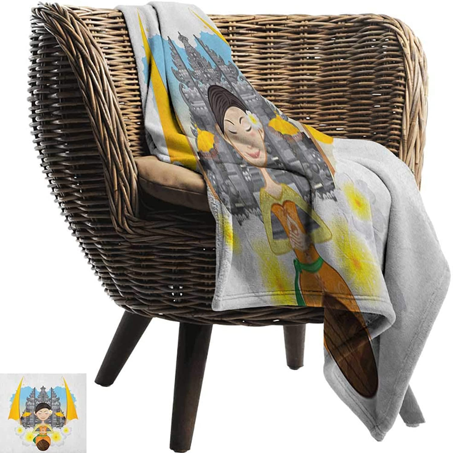 Warm Blanket Balinese Asian Girl with Traditional Cloths and Frangipani Flowers on Pura Temple Backdrop All Season for Couch or Bed 50  Wx60 L