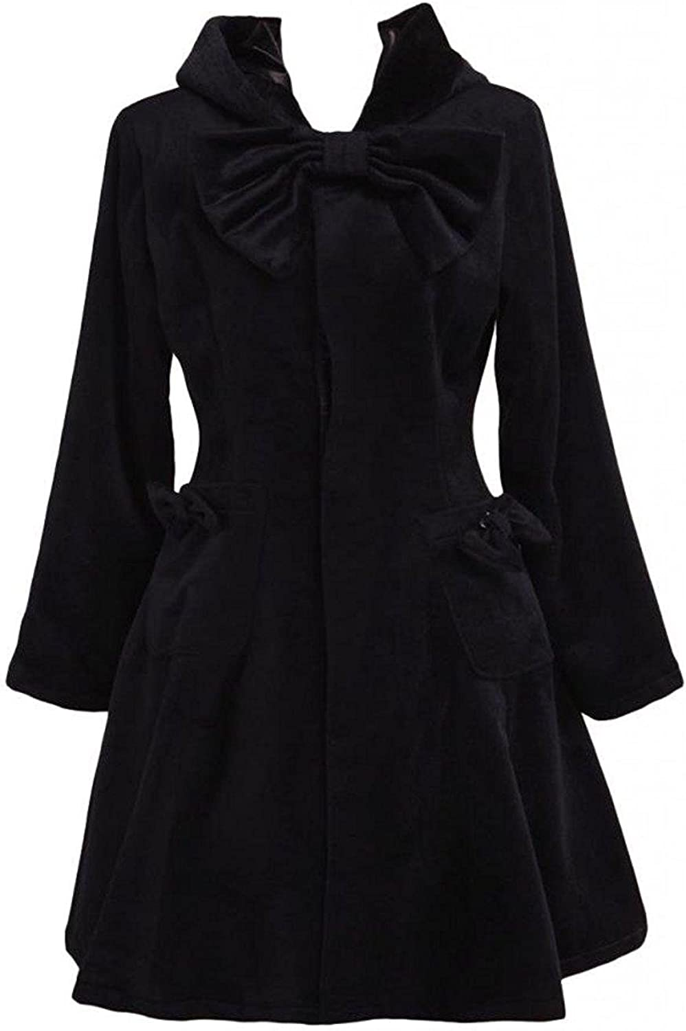 Cemavin Womens Black Wool Bow Long Sleeves Women's Lolita Outfit