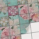 Carrelage Sticker Autocollant I adhésif carrelage - Credence Cuisine - Stickers muraux Salle de Bain I Stickers carrelage - Design Bouquet de Fleurs - 10x10 cm - 72 pièces