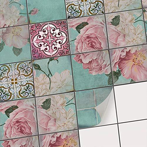 Piastrelle Decorazioni Decorative | Adesivi per Piastrelle Adesivo Bagno - Piastrelle-Cucina Pavimenti per Interni | 10x10 cm - Motivo Fiori - Set 20 Pezzi