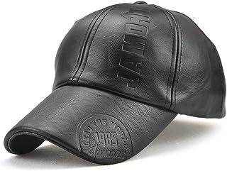VCOROS Baseball Caps Men - Classic Adjustable PU Leather Outdoor Hat