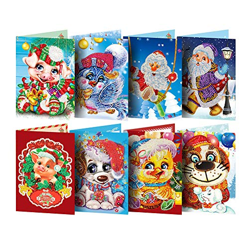 8pcs Christmas Greeting Cards for Family,5D DIY Diamond Painting Xmas Postcards Drill Decor Birthday Festival Party Handmade Cards Embroidery Kits