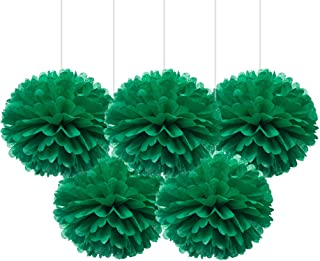 "16"" Green Tissue Pom Poms, DIY Paper Flower Hanging Party Decorations, Pack of 5"