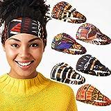 6 Pieces African Headbands Elastic Turban Headbands Boho Print Headband Elastic Hair Bands Wide Headwrap Workout Yoga Sports Hair Accessories for Women Girls