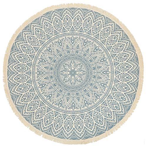 GEVES Aqua Blue Mandala Area Rug Bohemian Round Rugs with Tassels for Living Room Bedroom Carpet Floor Mat Easy to Clean Boho Decor