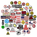 Hard Hat Stickers [Big 50 PCS] - Funny Sticker for Tool Box Helmet Welding Construction Union Military Ironworker Lineman Oilfield Electrician Pipeliner Ibew - Badass American Patriotic Vinyl Decals