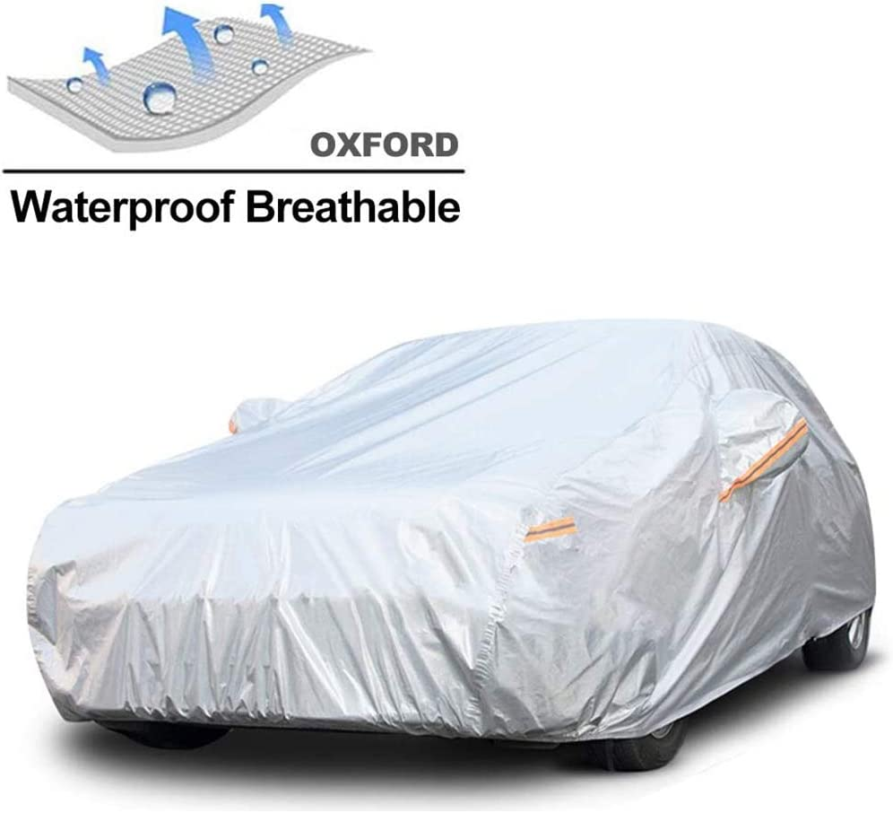 All Weather Snow Sun Rain UV Protective Fit Sedan GUNHYI Waterproof Car Cover for Automobile Outdoor Length 180-191 Inch