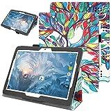 Nevigat Dragon Touch K10 10.1, Victbing 10, WECOOL 10 Inch Tablet, ZONKO 10.1, Mirzebo Android Tablet 10 Inch, Yuntab K17, Kivors 10.1, LLLCCORP 10 超薄 軽量 保護カバー (Luck Tree)