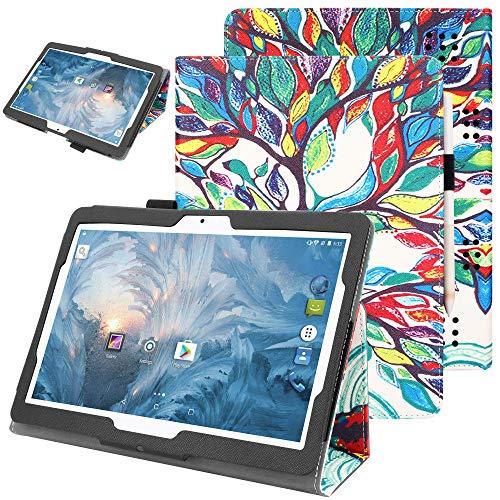 VOVIPO Estuche Yuntab 10.1 / YELLYOUTH 10'/ Tagital 10.1 - Funda de Cuero Premium de PU con Soporte para lápiz para Yuntab K107 / K17, BEISTA 10.1 K107 / M107, YELLYOUTH 10.1 Pulgadas Tableta Android