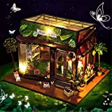Kid Workbench DIY Set Spielzeug Diy House Miniatur 3D Gewächshaus Handwerk Kits für Erwachsene - Holzpuppen Haus mit Möbeln und Zubehör, Lernspielzeug für Mädchen - Mini Diorama Haus Renovierung DIY D