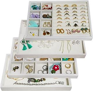 تخزين المجوهرات للأدراج المخملي، منظم مجوهرات قابل للتكديس صواني صندوق عرض حلقات، صينية تخزين إكسسوارات للمجوهرات 4 في 1 ل...