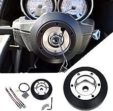 Kyostar 6-Hole Short Hub Steering Wheel Adapter, Steering Wheel Hub Adapter Boss Kit, Black Aluminum Steering Wheel Quick Release Hub for Nissan 350Z Z33 370Z G35 G37 SER SRK-141H