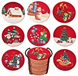 Christmas Cork Coaster, Set of 16,Drinks Absorbent, Metal Holder, Prevent Furniture from Dirty and Scratched, Warming Gift for Xmas, Housewarming Room Bar Decor Birthday Party