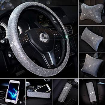 Pinbola 2 Packs Bling Bling Seat Belt Shoulder Pads Soft Plush Luster Crystal Car Seatbelt Covers Diamond Car Decor Accessories for Women Black-Rearview Mirror Cover