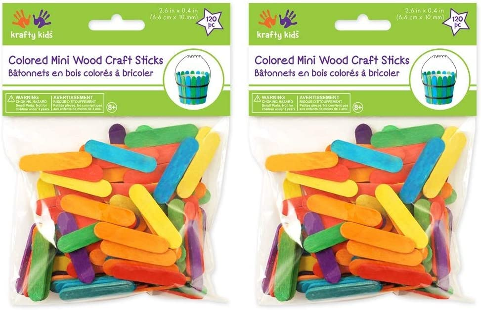 Fоur Расk Mini Craft Sticks-Colored 2.6 120//Pkg