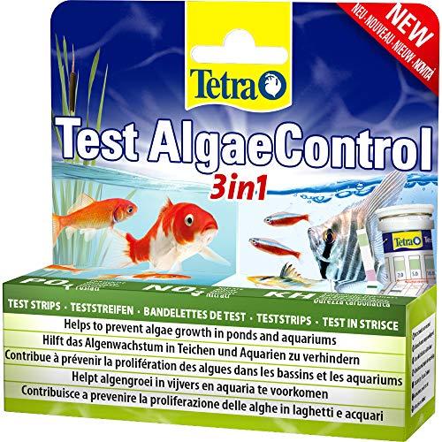 Tetra AlgaeControl 3in1 Test - Wassertest zur Überprüfung der wichtigsten Algen-Parameter im Teich oder Aquarium, 1 Dose (25 Teststreifen)