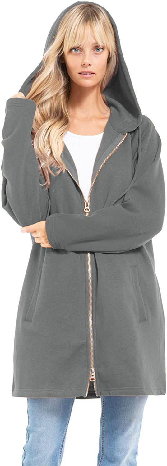 Design by Olivia Women's Casual Oversized Loose Fit Long Sleeve Zip Up Pullover Hoodie Tunic Sweatshirt Jacket (S-3X)