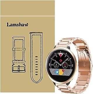 for MyKronoz ZeRound2 HR Band, Lamshaw Stainless Steel Metal Replacement Straps for MyKronoz ZeRound 2 HR Smartwatch (Rose Gold)
