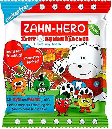 Zuckerfreie Xylit-Gummibärchen von ZAHN-HERO®, 6 x 75 g Tüte (2,45 €/75 g) – zahnfreundlich, vegan und weltweit einzigartig!
