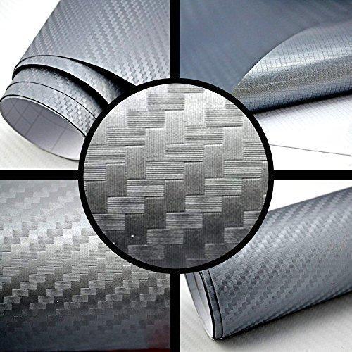 TipTopCarbon 6,57€/m² 3D Carbon Folie Silber-grau BLASENFREI 4m x 1,52m mit Luftkanäle Autofolie selbstklebend