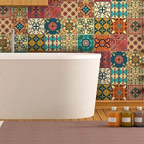 Ambiance-Live, col-tiles-ros-a838_ 20x 20cm adesivi adesivi piastrelle, Multicolore, 20x 20cm, set di 16pezzi, (col-tiles-ROS-A838_20x20cm)