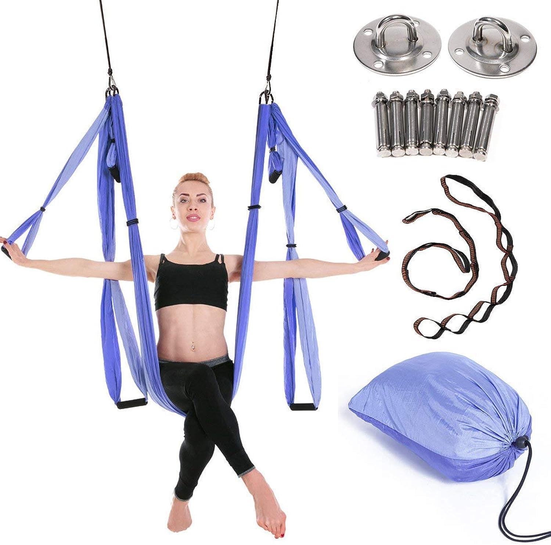 Mustbe Strong Aerial Yoga Swing Trapez Yoga Kit für Antigravitationsübungen mit verstellbaren Griffen Verlngerungsgurte für Anfnger und Kinder