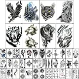 Temporary Tattoo Stickers Black for Men (8 Large Eagle Owl Wolf Tiger Dragon Lion Tribal Totem Pattern) 37 Small Waterproof Fake Tattoos Shoulder Chest Body Art Makeup Removable (Pattern1)