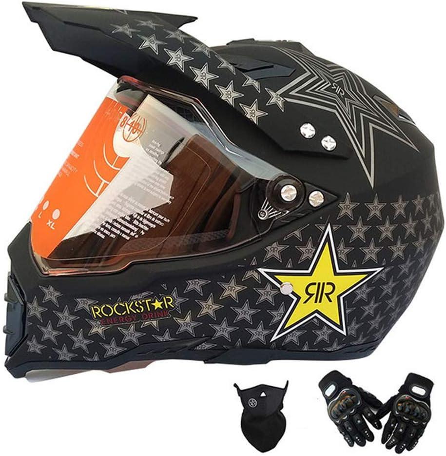 Mrdear Motorrad Crosshelm Motocross Helm Set Mit Visier Handschuh Maske Schwarz Rockstar Full Face Mtb Helm Motorradhelm Für Downhill Bmx Enduro Damen Herren Sport Sicherheit Schutz L Sport Freizeit