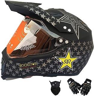 MRDEAR Motorrad Crosshelm, Motocross Helm Set mit Visier Handschuh Maske, Schwarz/Rockstar, Full Face MTB Helm Motorradhelm für Downhill BMX Enduro Damen Herren Sport Sicherheit Schutz