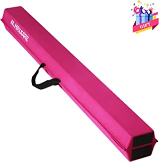 MaxKare 9ft Balance Beam Gymnastics for Home, Indoor Floor Foldable Gymnastic Beam for Kids, with Grip Suede, Anti-Slip Base, Folding Gymnastics Beams for Training, Practice, Physical Therapy Pink