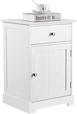 YAHEETECH Nightstand End Table with One Drawer and One Door, Wooden Accent Table Sofa Bed Side Storage Cabinet White