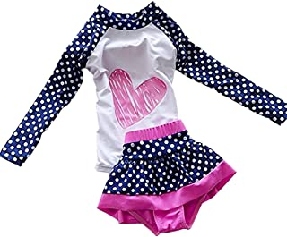LOSORN ZPY Baby Girl Swimsuit Two Pieces Toddler Kid Long Sleeve Rash Guard UPF 50+