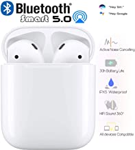 Bluetooth 5.0 Headset Earbuds Headphones Built-in Microphone and Charging Box,Touch Control,IPX5 Waterproof,3D Stereo Noise Reduction,30H+ Work Time,Pop-ups Auto Pairing for iPhone Airpods/Android