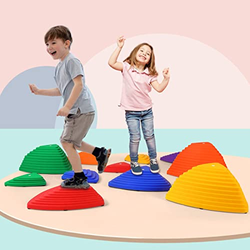 discount JOYLDIAS Colourful Stepping Stones 2021 Kit for Kids Play, Set of 11 pcs for Balance outlet sale Training Indoor and Outdoor, Kindergarten Backyard Agility Training for Football Basketball online