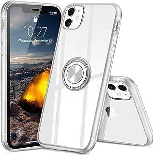 iPhone 11 ケース スマホリング カバー リング 透明 TPU クリア リング付き 回転リング アイフォン11 ケース マグネット式 車載ホルダー対応 スタンド 携帯ケース 耐衝撃 薄型 レンズ保護ト 超耐久 一体型 人気 防塵 (クリスタル・クリア)