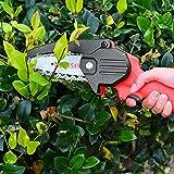 TTLIFE Mini Motosierra Eléctrica 4 Pulgadas Recargable Sierra Eléctrica De Mano Inalámbrica Sierra De Jardín Para Cortar Árboles De Madera Herramientas De Jardinería (Motosierra Roja 24V )